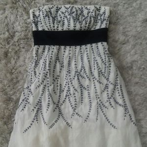 Ann Taylor Strapless Embroidered Dress 8 Petites
